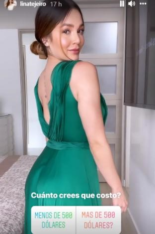 foto de una mujer con vestido verde