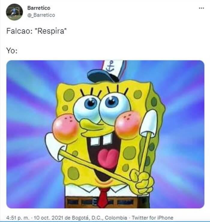 Pantallazo meme para Falcao para ilustrar Los memes de Colombia vs Brasil, tras un partido de infarto